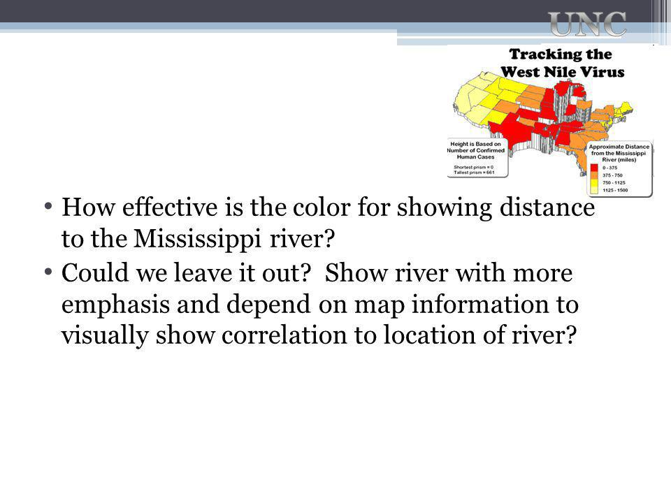 How effective is the color for showing distance to the Mississippi river.