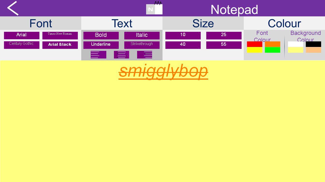FontTextSizeColour Notepad Font Colour Background Colour