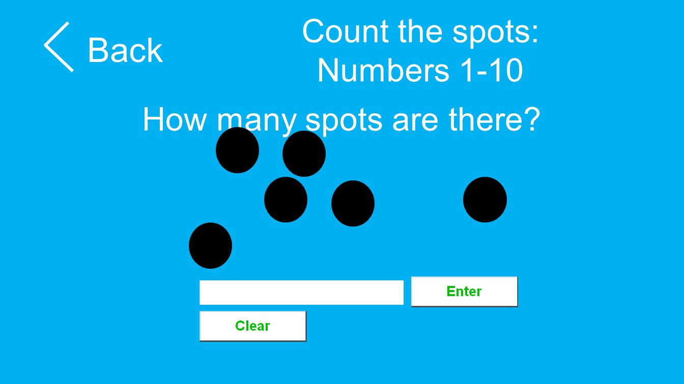 Count the spots: Numbers 1-10 Back How many spots are there?
