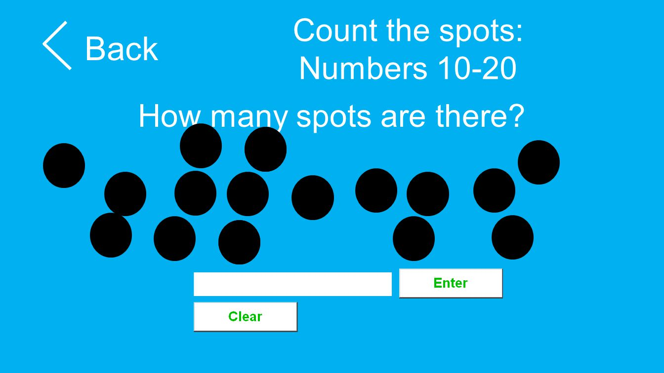 Count the spots: Numbers 10-20 Back How many spots are there?