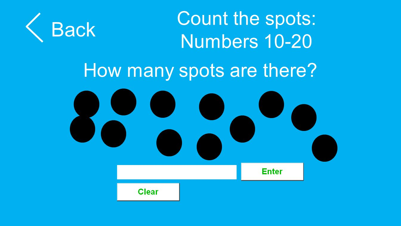Count the spots: Numbers 10-20 Back How many spots are there