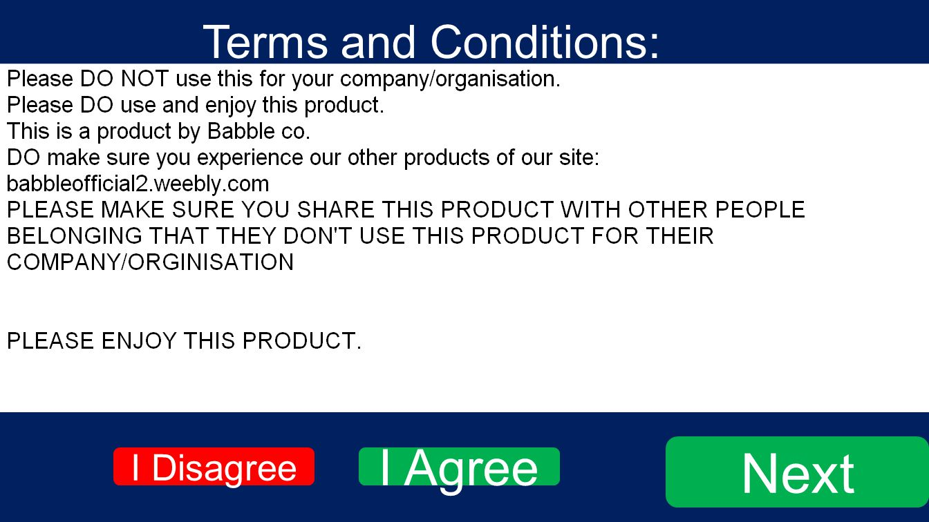 Terms and Conditions: Next I Agree I Disagree