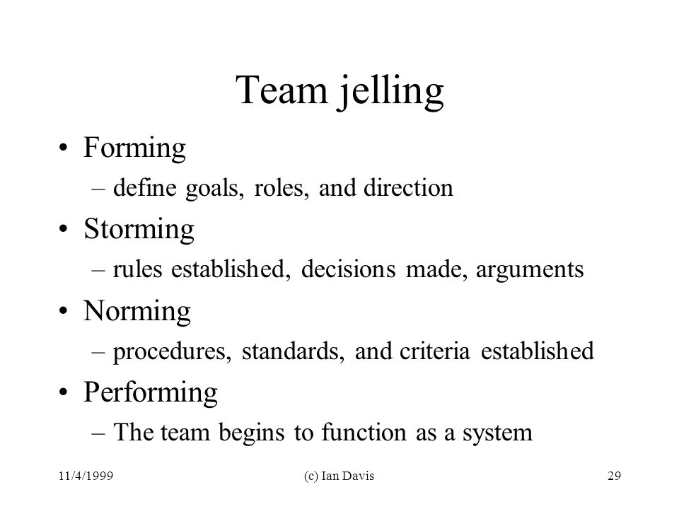 11/4/1999(c) Ian Davis29 Team jelling Forming –define goals, roles, and direction Storming –rules established, decisions made, arguments Norming –procedures, standards, and criteria established Performing –The team begins to function as a system