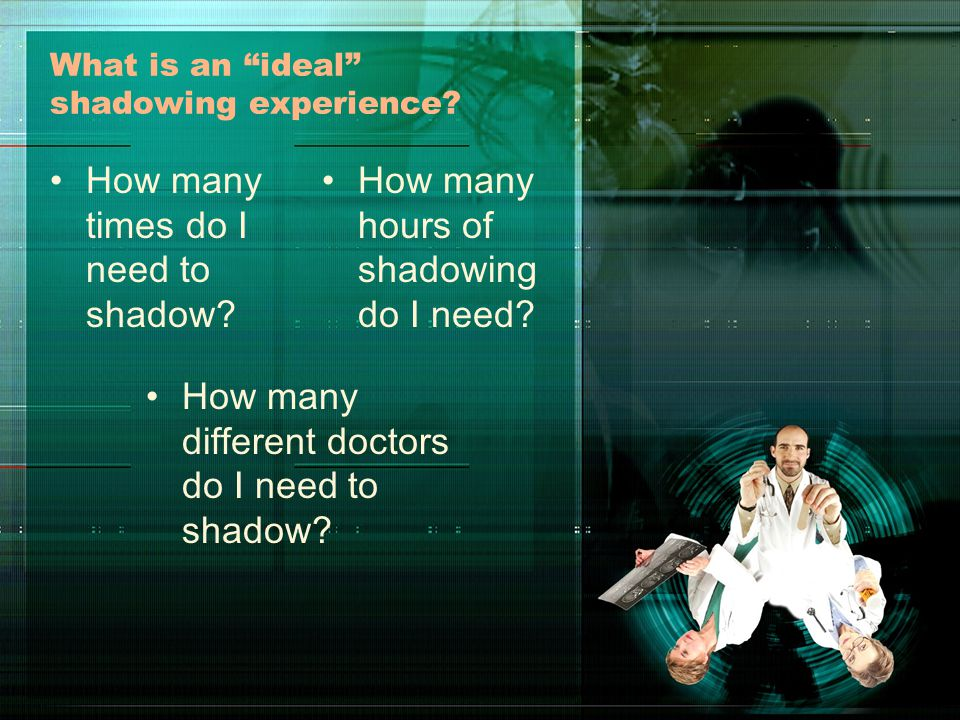 The Rule of 4-3-2-1 At a minimum –4 - different doctors –3 - different visits to each doc –2 - hours at each visit –1 - no more than one doc you already know The best shadowing experiences will occur over several years Not a checklist Learning process