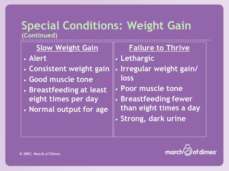 © 2007, March of Dimes Special Conditions: Weight Gain (Continued) Slow Weight Gain Alert Consistent weight gain Good muscle tone Breastfeeding at lea
