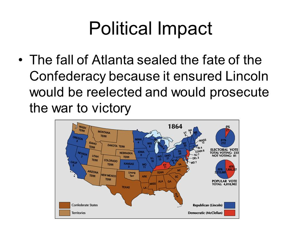 Political Impact The fall of Atlanta sealed the fate of the Confederacy because it ensured Lincoln would be reelected and would prosecute the war to victory