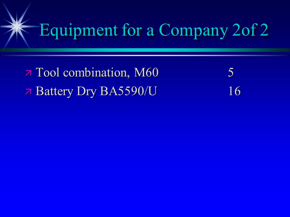 Equipment for a Company 2of 2 ä Tool combination, M605 ä Battery Dry BA5590/U16