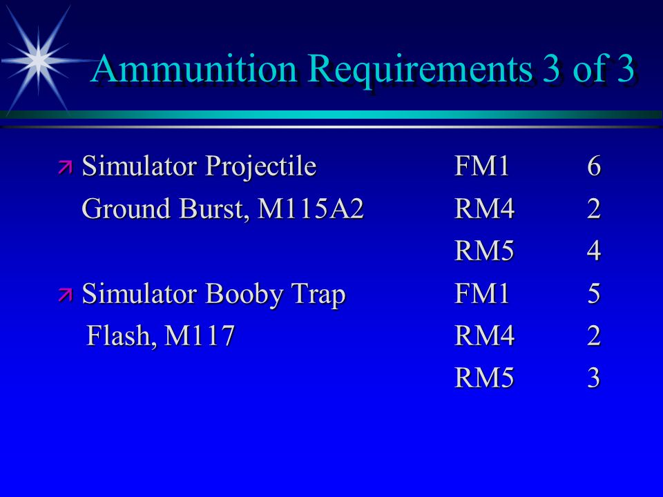 Ammunition Requirements 3 of 3 ä Simulator ProjectileFM16 Ground Burst, M115A2RM42 RM54 ä Simulator Booby TrapFM15 Flash, M117RM4 2 Flash, M117RM4 2 RM5 3