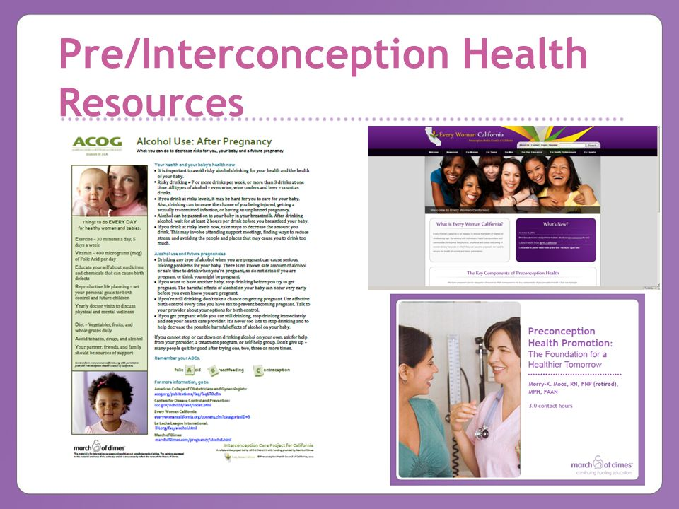 Pre/Interconception Health Resources