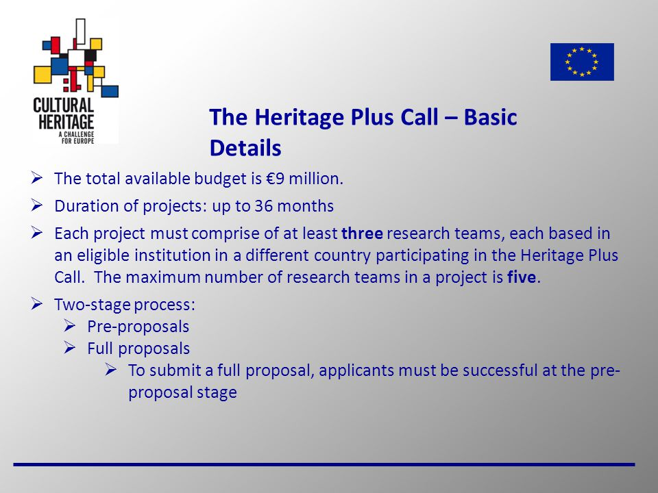 6 The Heritage Plus Call – Basic Details  The total available budget is €9 million.