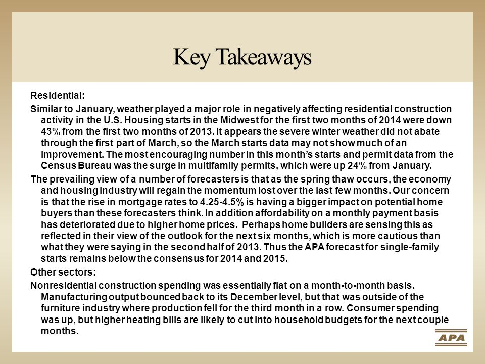 Key Takeaways Residential: Similar to January, weather played a major role in negatively affecting residential construction activity in the U.S.