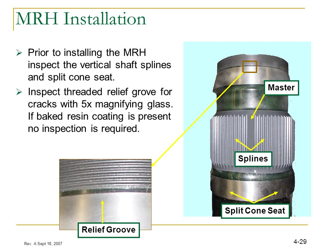 Rev. A Sept 18, 2007 4-29 MRH Installation  Prior to installing the MRH inspect the vertical shaft splines and split cone seat.  Inspect threaded re