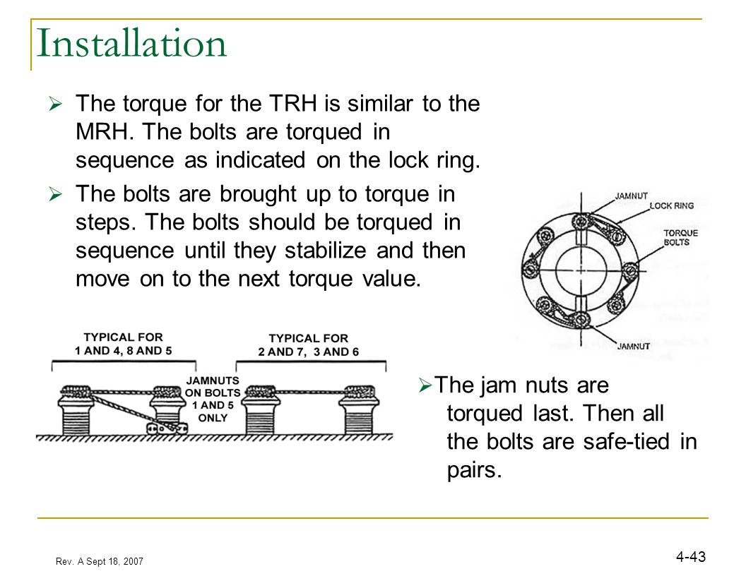 Rev. A Sept 18, 2007 4-43 Installation  The torque for the TRH is similar to the MRH. The bolts are torqued in sequence as indicated on the lock ring