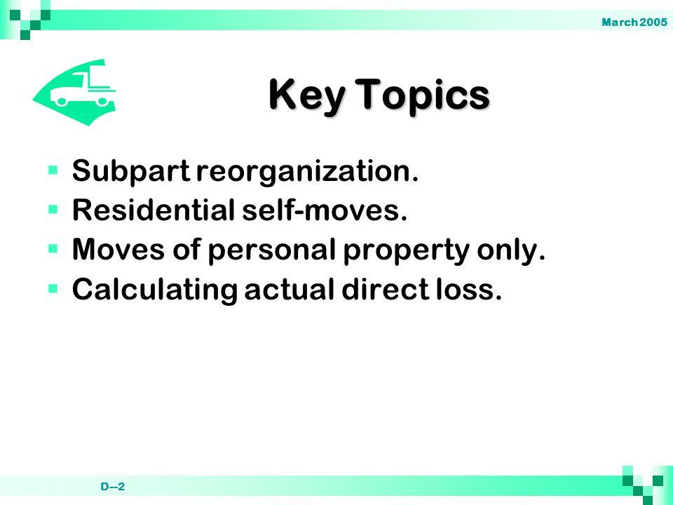 March 2005 D--2 Key Topics  Subpart reorganization.