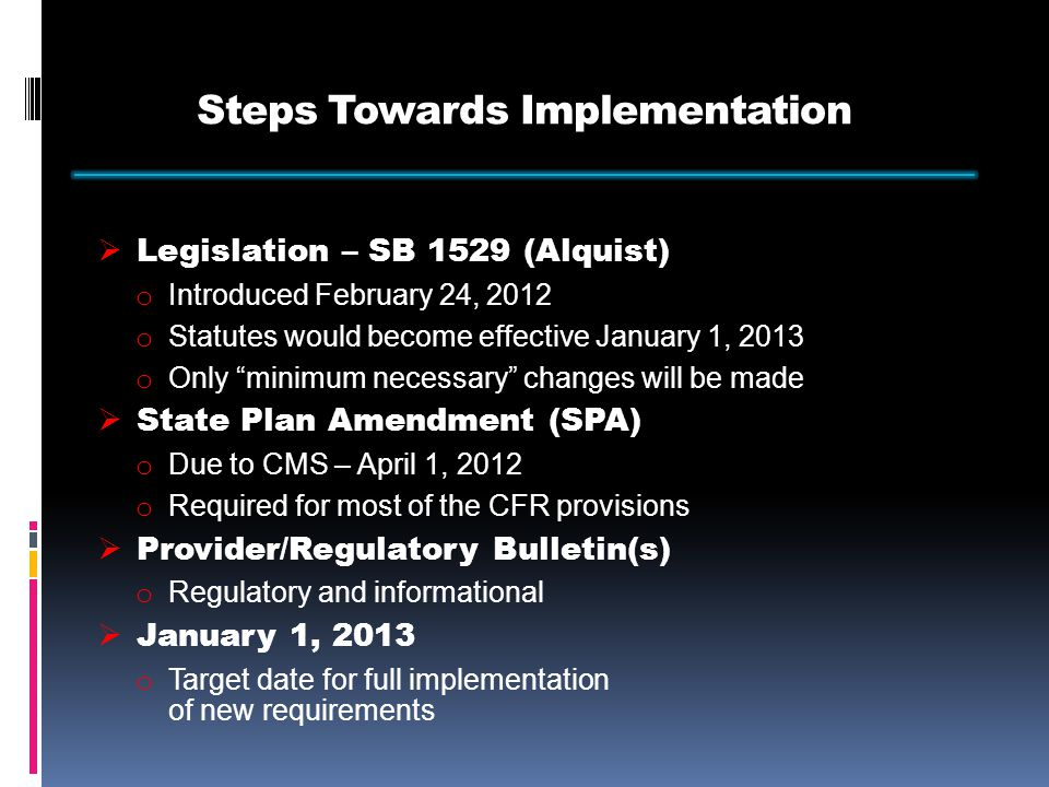 Steps Towards Implementation  Coordinating with other Divisions and Departments  Stakeholder Meetings  Making necessary changes to current policy and procedures  Developing and updating forms in order to collect the required provider information