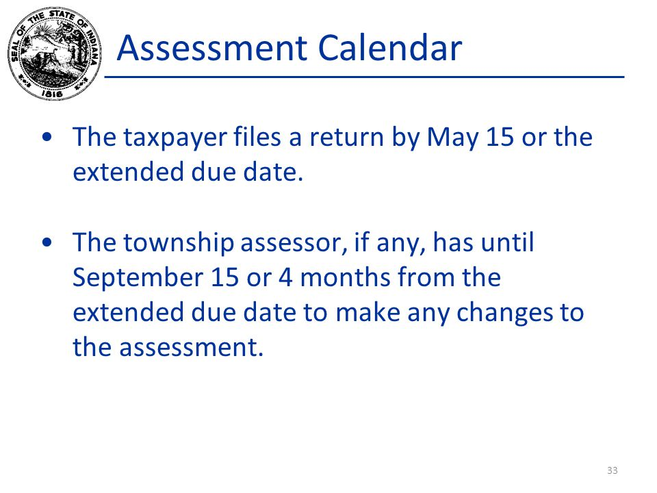 Assessment Calendar The taxpayer files a return by May 15 or the extended due date.