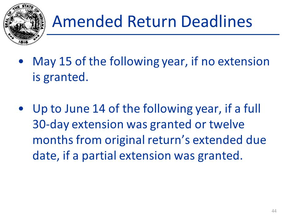 Amended Return Deadlines May 15 of the following year, if no extension is granted.