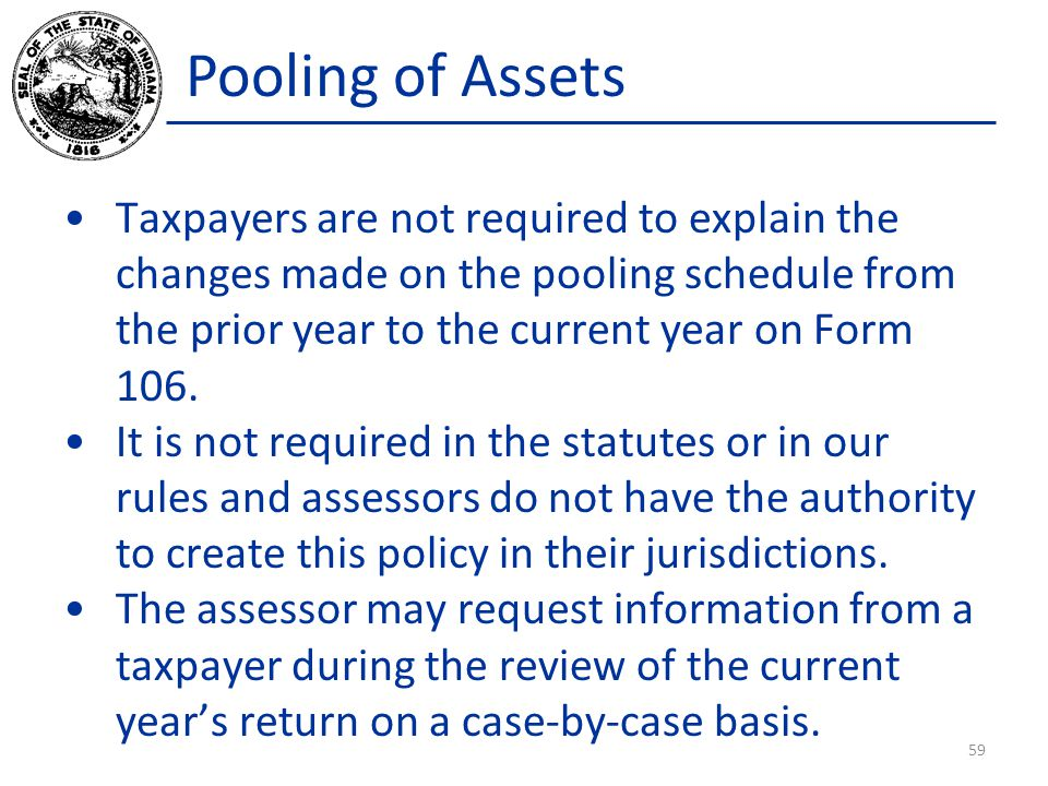 Pooling of Assets Taxpayers are not required to explain the changes made on the pooling schedule from the prior year to the current year on Form 106.