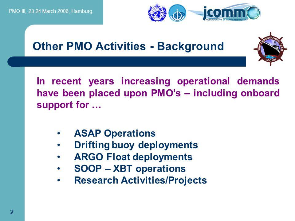PMO-III, 23-24 March 2006, Hamburg. 22 Other PMO Activities - ARGO