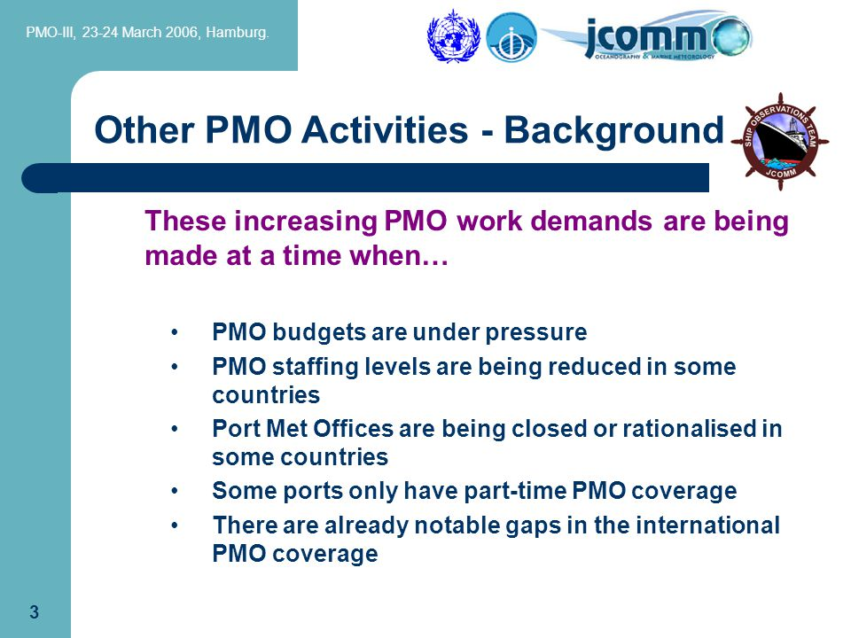 PMO-III, 23-24 March 2006, Hamburg.23 The range of PMO duties for ARGO Floats include....
