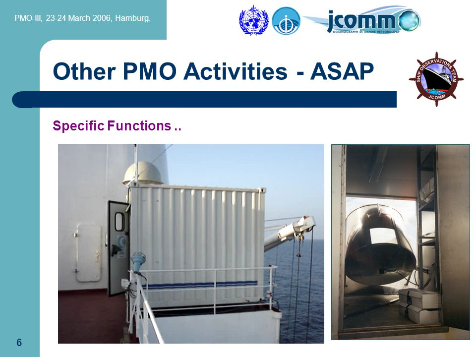 PMO-III, 23-24 March 2006, Hamburg.26 Specific Functions include..