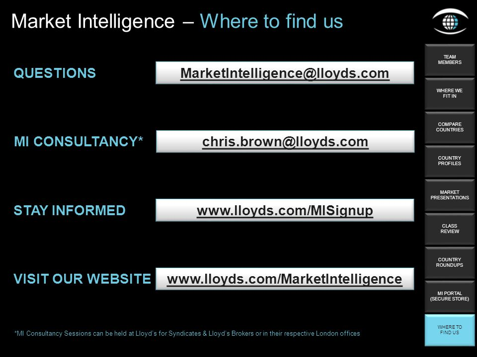 QUESTIONS STAY INFORMED   Market Intelligence – Where to find us MI CONSULTANCY* *MI Consultancy Sessions can be held at Lloyd's for Syndicates & Lloyd's Brokers or in their respective London offices VISIT OUR WEBSITE   TEAM MEMBERS TEAM MEMBERS WHERE WE FIT IN WHERE WE FIT IN COMPARE COUNTRIES COMPARE COUNTRIES COUNTRY PROFILES COUNTRY PROFILES MARKET PRESENTATIONS MARKET PRESENTATIONS CLASS REVIEW CLASS REVIEW COUNTRY ROUNDUPS COUNTRY ROUNDUPS WHERE TO FIND US WHERE TO FIND US MI PORTAL (SECURE STORE) MI PORTAL (SECURE STORE)
