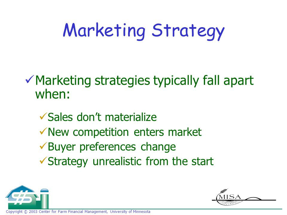 Copyright © 2003 Center for Farm Financial Management, University of Minnesota Marketing Strategy Marketing strategies typically fall apart when: Sales don't materialize New competition enters market Buyer preferences change Strategy unrealistic from the start