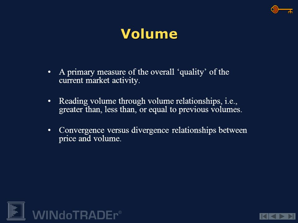 Volume A primary measure of the overall 'quality' of the current market activity.
