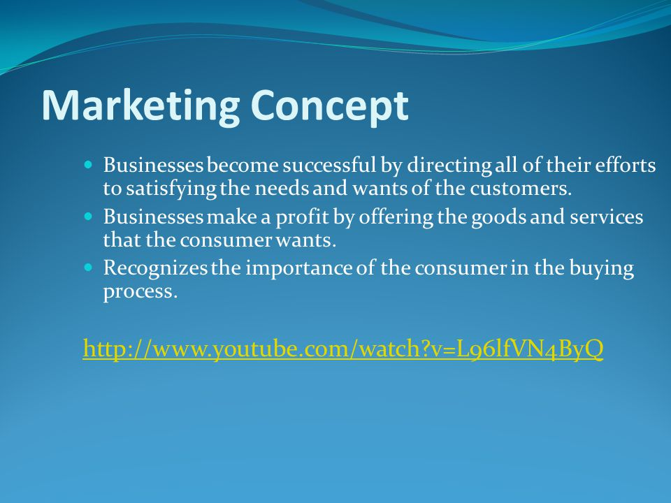 Marketing The process of developing, promoting, pricing and distributing products in order to satisfy customers' needs and wants. Marketing involves a