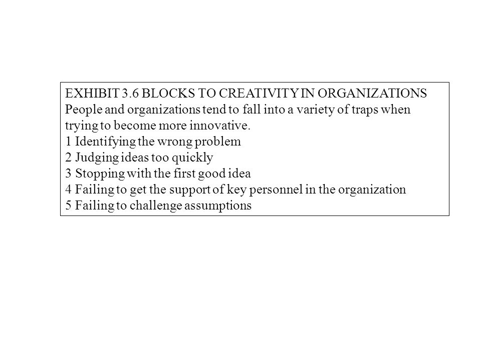 EXHIBIT 3.6 BLOCKS TO CREATIVITY IN ORGANIZATIONS People and organizations tend to fall into a variety of traps when trying to become more innovative.