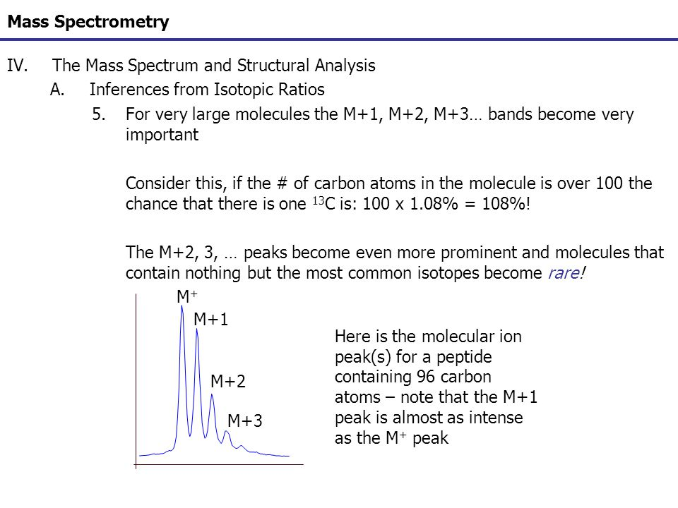 Mass Spectrometry IV.The Mass Spectrum and Structural Analysis A.Inferences from Isotopic Ratios 5.For very large molecules the M+1, M+2, M+3… bands b