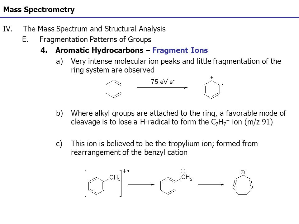 Mass Spectrometry IV.The Mass Spectrum and Structural Analysis E.Fragmentation Patterns of Groups 4.Aromatic Hydrocarbons – Fragment Ions a)Very inten