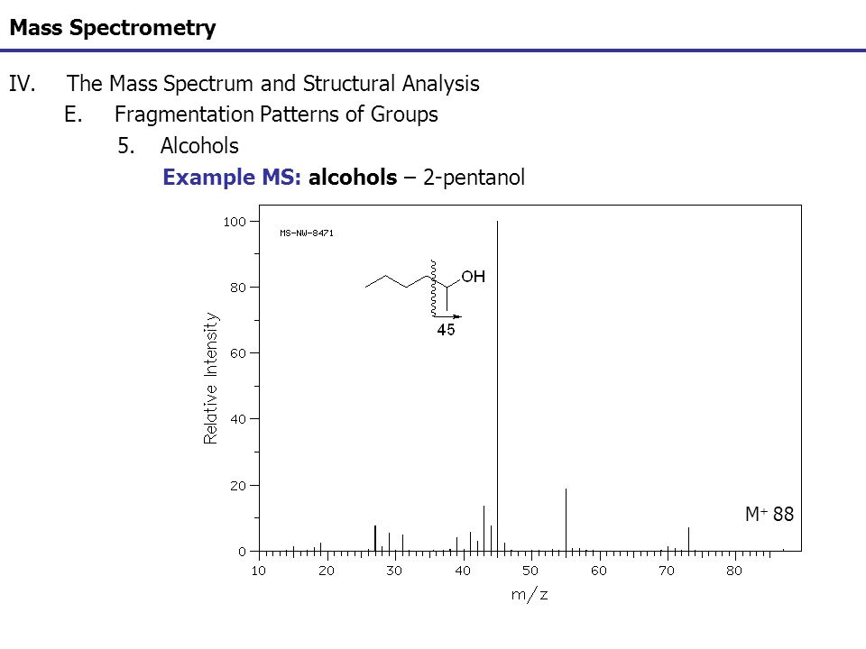 Mass Spectrometry IV.The Mass Spectrum and Structural Analysis E.Fragmentation Patterns of Groups 5.Alcohols Example MS: alcohols – 2-pentanol M + 88