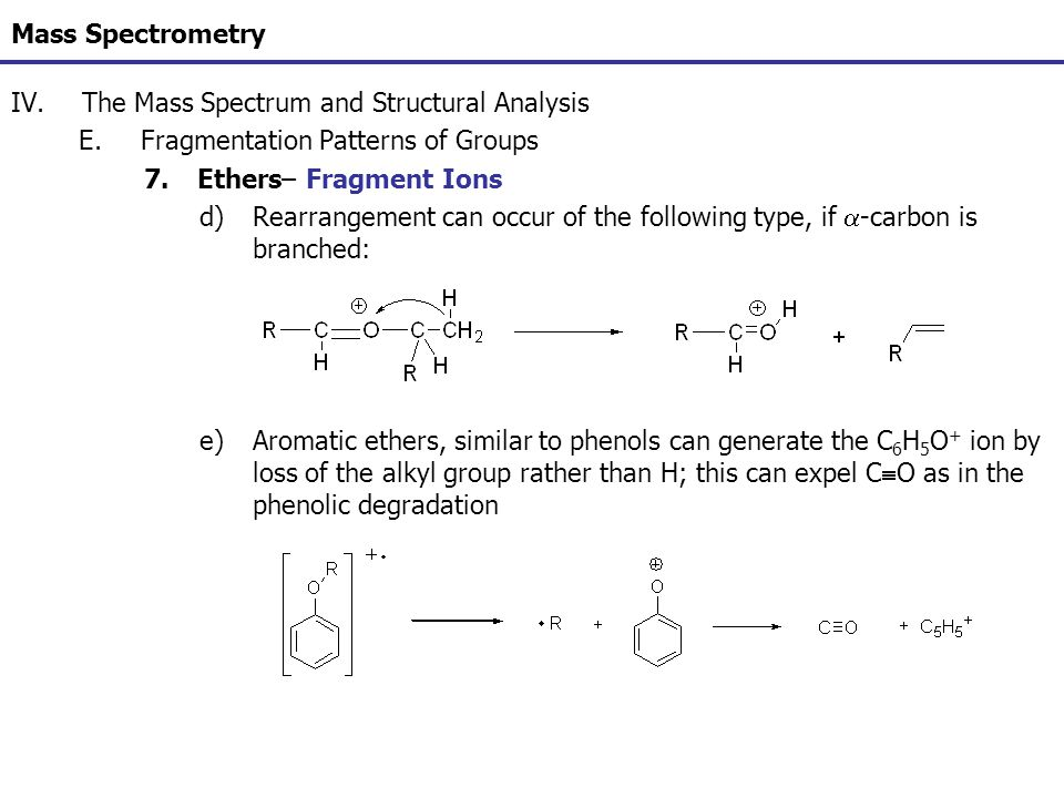 Mass Spectrometry IV.The Mass Spectrum and Structural Analysis E.Fragmentation Patterns of Groups 7.Ethers– Fragment Ions d)Rearrangement can occur of