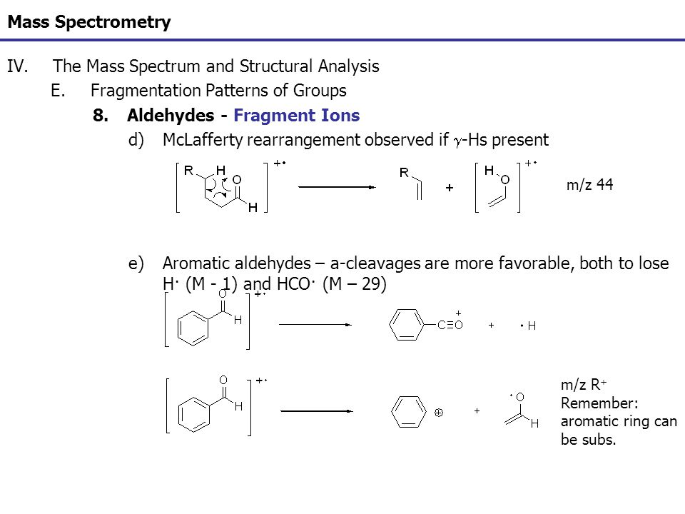Mass Spectrometry IV.The Mass Spectrum and Structural Analysis E.Fragmentation Patterns of Groups 8.Aldehydes - Fragment Ions d)McLafferty rearrangeme