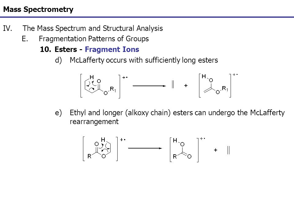 Mass Spectrometry IV.The Mass Spectrum and Structural Analysis E.Fragmentation Patterns of Groups 10.Esters - Fragment Ions d)McLafferty occurs with s