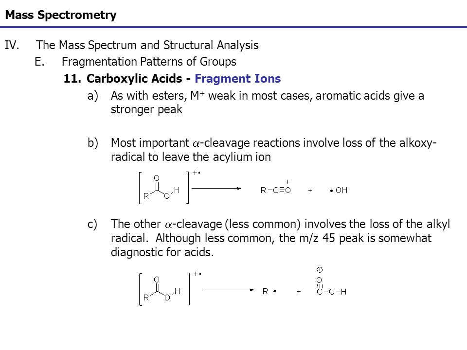 Mass Spectrometry IV.The Mass Spectrum and Structural Analysis E.Fragmentation Patterns of Groups 11.Carboxylic Acids - Fragment Ions a)As with esters