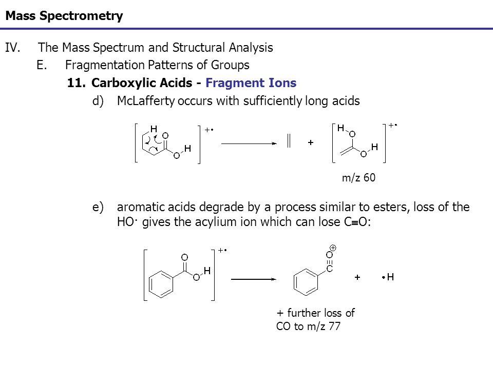 Mass Spectrometry IV.The Mass Spectrum and Structural Analysis E.Fragmentation Patterns of Groups 11.Carboxylic Acids - Fragment Ions d)McLafferty occ