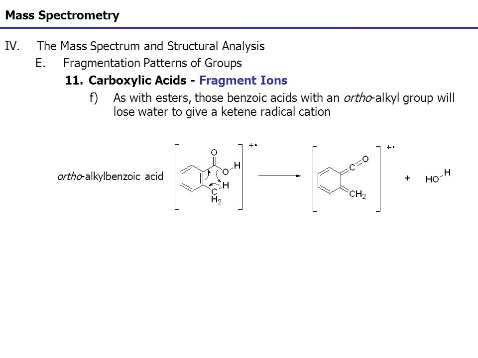 Mass Spectrometry IV.The Mass Spectrum and Structural Analysis E.Fragmentation Patterns of Groups 11.Carboxylic Acids - Fragment Ions f)As with esters