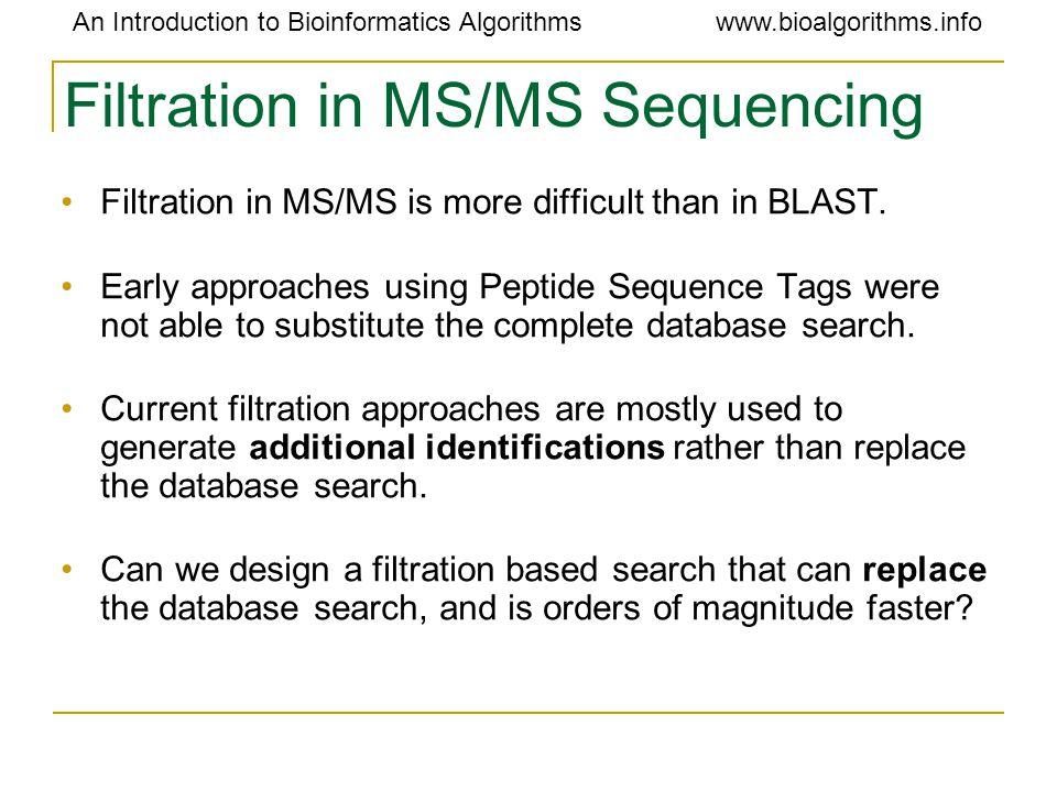 An Introduction to Bioinformatics Algorithmswww.bioalgorithms.info Filtration in MS/MS Sequencing Filtration in MS/MS is more difficult than in BLAST.