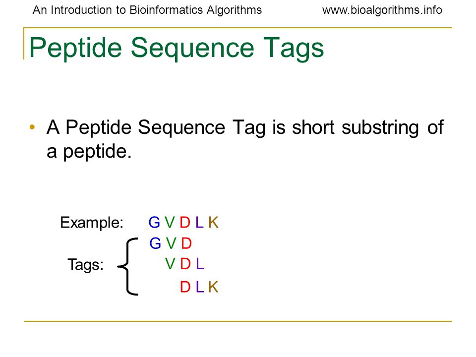 An Introduction to Bioinformatics Algorithmswww.bioalgorithms.info Peptide Sequence Tags A Peptide Sequence Tag is short substring of a peptide. Examp