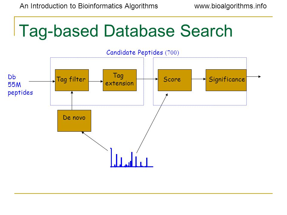 An Introduction to Bioinformatics Algorithmswww.bioalgorithms.info Tag-based Database Search Tag filterSignificanceScore Tag extension De novo Db 55M peptides Candidate Peptides (700)