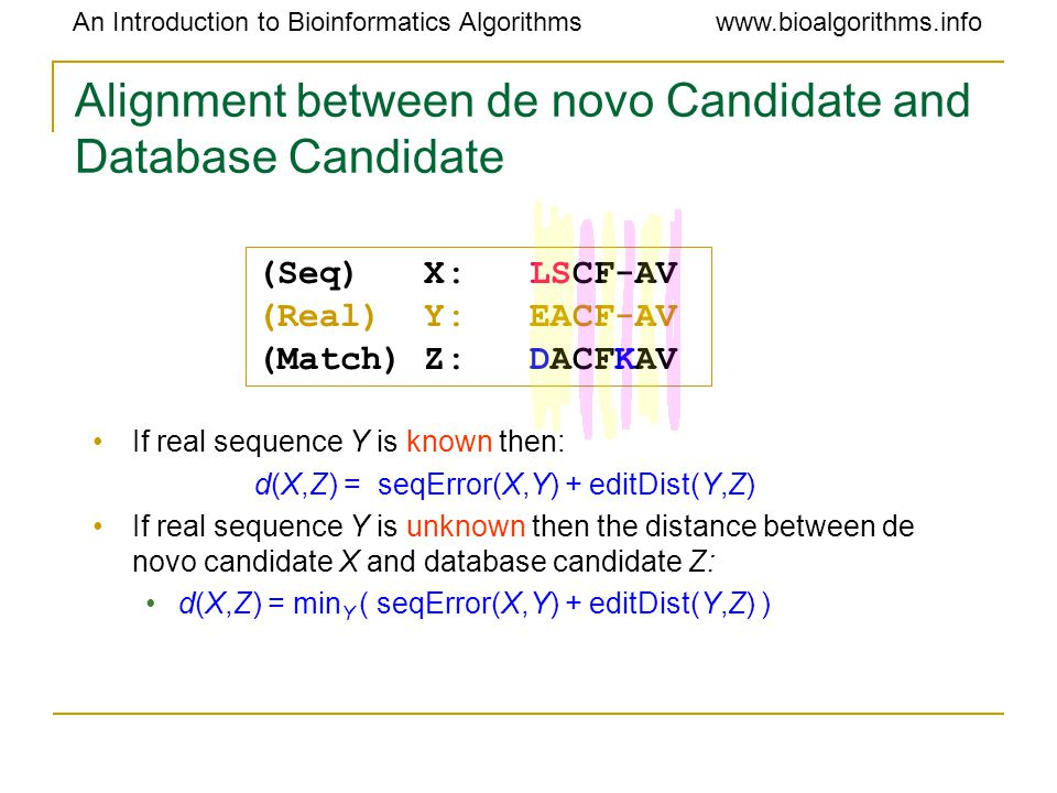 An Introduction to Bioinformatics Algorithmswww.bioalgorithms.info Alignment between de novo Candidate and Database Candidate If real sequence Y is known then: d(X,Z) = seqError(X,Y) + editDist(Y,Z) If real sequence Y is unknown then the distance between de novo candidate X and database candidate Z: d(X,Z) = min Y ( seqError(X,Y) + editDist(Y,Z) ) (Seq) X: LSCF-AV (Real) Y: EACF-AV (Match) Z: DACFKAV