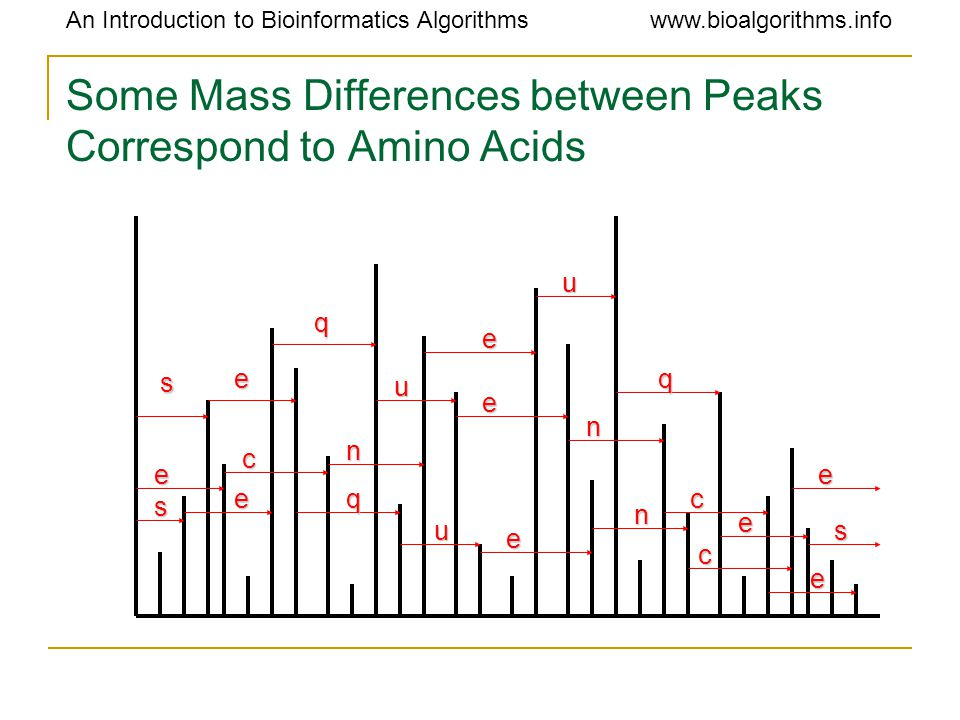 An Introduction to Bioinformatics Algorithmswww.bioalgorithms.info Some Mass Differences between Peaks Correspond to Amino Acids s s s e e e e e e e e q q q u u u n n n e c c c
