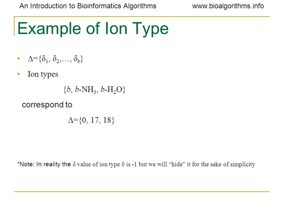 An Introduction to Bioinformatics Algorithmswww.bioalgorithms.info Example of Ion Type Δ={δ 1, δ 2,…, δ k } Ion types {b, b-NH 3, b-H 2 O} correspond