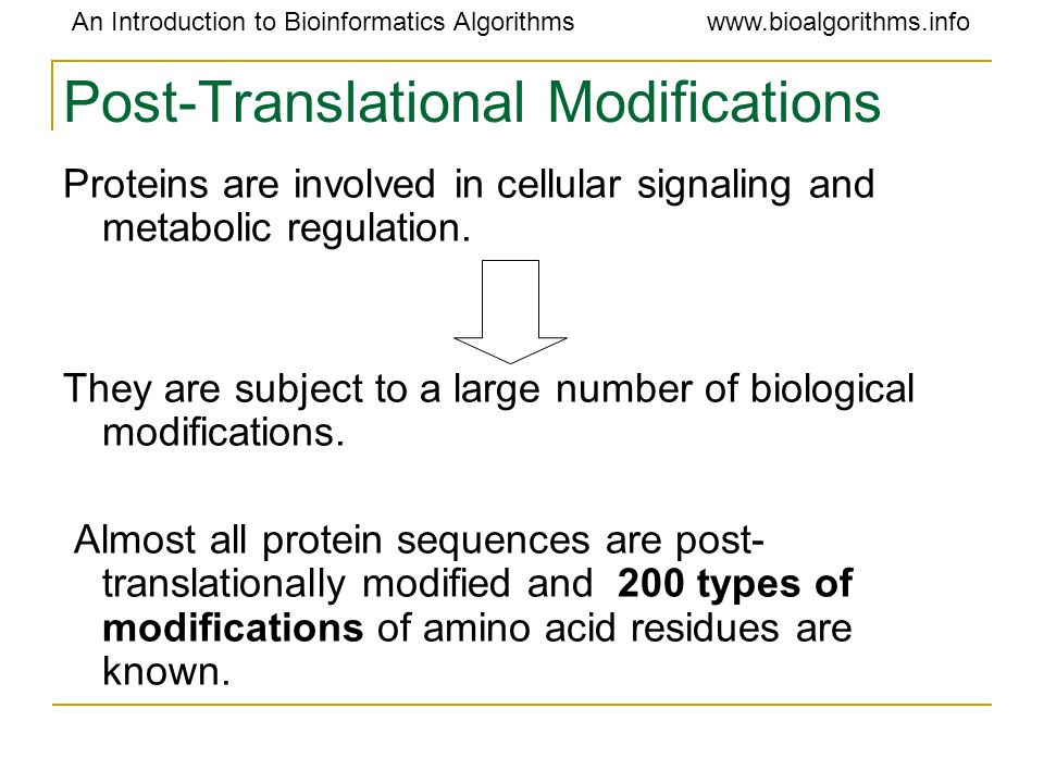 An Introduction to Bioinformatics Algorithmswww.bioalgorithms.info Post-Translational Modifications Proteins are involved in cellular signaling and me