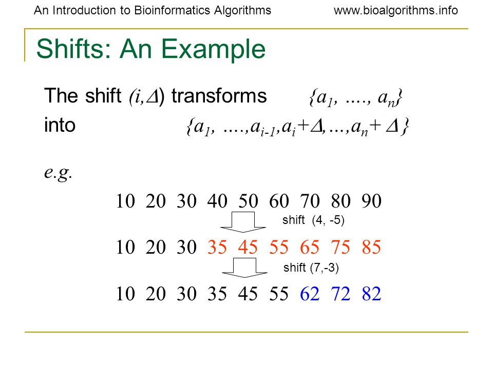 An Introduction to Bioinformatics Algorithmswww.bioalgorithms.info Shifts: An Example The shift (i,  ) transforms {a 1, …., a n } into {a 1, ….,a i-1