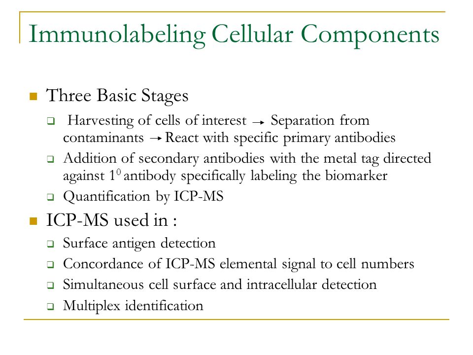 Immunolabeling Cellular Components Three Basic Stages  Harvesting of cells of interest Separation from contaminants React with specific primary antibodies  Addition of secondary antibodies with the metal tag directed against 1 0 antibody specifically labeling the biomarker  Quantification by ICP-MS ICP-MS used in :  Surface antigen detection  Concordance of ICP-MS elemental signal to cell numbers  Simultaneous cell surface and intracellular detection  Multiplex identification
