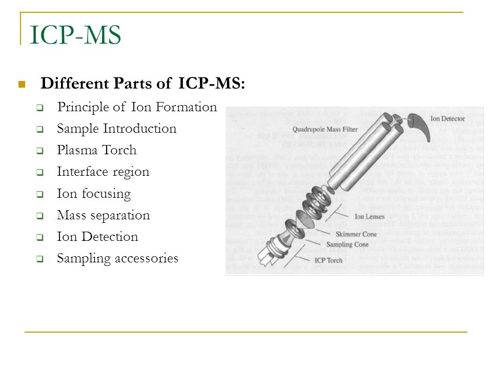 ICP-MS Different Parts of ICP-MS:  Principle of Ion Formation  Sample Introduction  Plasma Torch  Interface region  Ion focusing  Mass separation  Ion Detection  Sampling accessories
