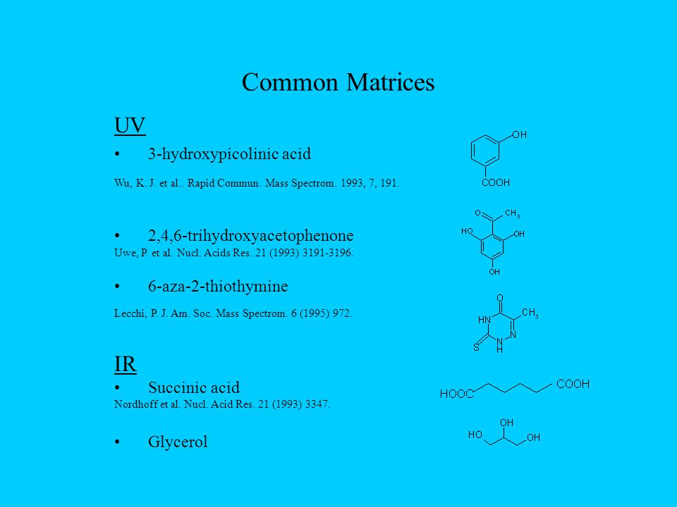 Common Matrices UV 3-hydroxypicolinic acid Wu, K. J.